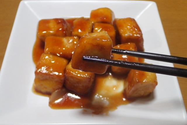 冷凍豆腐の黒酢酢豚風を食べてみた