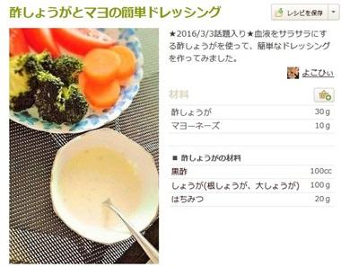 酢生姜とマヨネーズのドレッシング