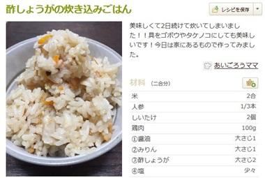 酢生姜と鶏の炊き込みご飯
